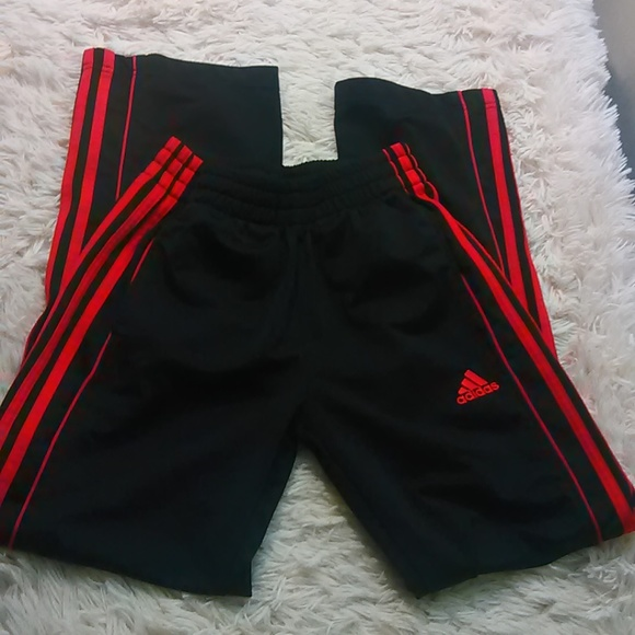 e6b22946afc adidas Bottoms | Track Pants Boys Black Red M 10 12 3 Stripe | Poshmark